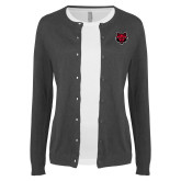 Ladies Charcoal Cardigan-Red Wolf Head