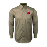 Khaki Twill Button Down Long Sleeve-Red Wolf Head