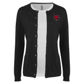 Ladies Black Cardigan-Red Wolf Head