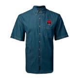 Denim Shirt Short Sleeve-Red Wolf Head