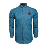Denim Shirt Long Sleeve-Red Wolf Head