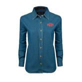Ladies Denim Long Sleeve Shirt-A State