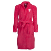 Ladies Pink Raspberry Plush Microfleece Shawl Collar Robe-Red Wolf Head