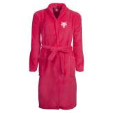Ladies Pink Raspberry Plush Microfleece Shawl Collar Robe-Red Wolf Head