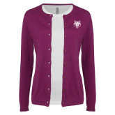 Ladies Deep Berry Cardigan-Red Wolf Head
