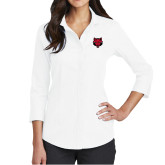 Ladies Red House White 3/4 Sleeve Shirt-Red Wolf Head