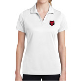 Ladies White Dry Mesh Polo-Red Wolf Head