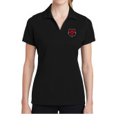 Ladies Black Dry Mesh Polo-Red Wolf Head