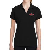 Ladies Black Dry Mesh Polo-A State