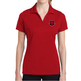 Ladies Red Dry Mesh Polo-Red Wolf Head