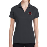 Ladies Charcoal Dry Mesh Polo-Red Wolf Head