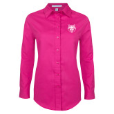 Ladies Tropical Pink Long Sleeve Twill Shirt-Red Wolf Head
