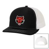 Richardson Black/White Trucker Hat-Red Wolf Head