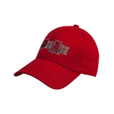 Red Heavyweight Twill Pro Style Hat-Red Wolf Head w/A State