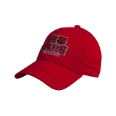 Red Heavyweight Twill Pro Style Hat-Red Wolves Stacked Head Centered
