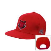 Red Flat Bill Snapback Hat-Red Wolf Head