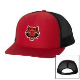 Richardson Red/Black Trucker Hat-Red Wolf Head