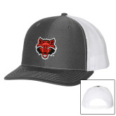 Richardson Charcoal/White Trucker Hat-Red Wolf Head