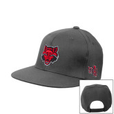 Steel Grey Flat Bill Snapback Hat-Red Wolf Head