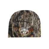 Mossy Oak Camo Fleece Beanie-Red Wolf Head