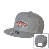 Heather Grey Wool Blend Flat Bill Snapback Hat-A State