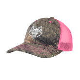 Mossy Oak Camo/Neon Pink Structured Hat-Red Wolf Head