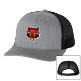 Richardson Heather Grey/Black Trucker Hat-Red Wolf Head