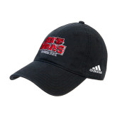 Adidas Black Slouch Unstructured Low Profile Hat-Red Wolves Stacked Head Centered