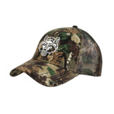 Camo Pro Style Mesh Back Structured Hat-Red Wolf Head