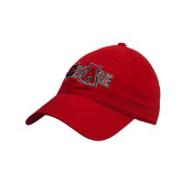 Red Twill Unstructured Low Profile Hat-Red Wolf Head w/A State