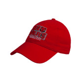 Red Twill Unstructured Low Profile Hat-Red Wolves Stacked Head Centered