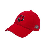 Red Twill Unstructured Low Profile Hat-Red Wolf Head