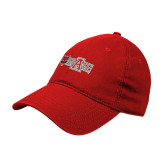 Red Twill Unstructured Low Profile Hat-A State w Red Wolf