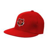 Red OttoFlex Flat Bill Pro Style Hat-Red Wolf Head