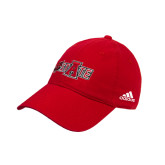 Adidas Red Slouch Unstructured Low Profile Hat-Red Wolf Head w/A State