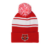 Red/White Two Tone Knit Pom Beanie w/Cuff-Red Wolf Head