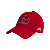 Adidas Red Structured Adjustable Hat-Red Wolves Stacked Head Centered