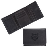 Canyon Tri Fold Black Leather Wallet-Red Wolf Head Engraved