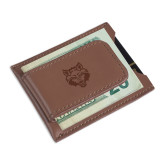 Cutter & Buck Chestnut Money Clip Card Case-Red Wolf Head Engraved