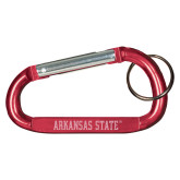 Red Carabiner with Split Ring-Arkansas State Engraved