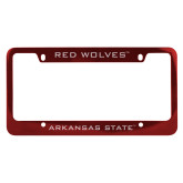 Metal Red License Plate Frame-Red Wolves