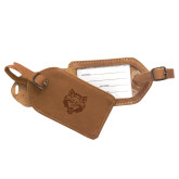 Canyon Barranca Tan Luggage Tag-Red Wolf Head Engraved