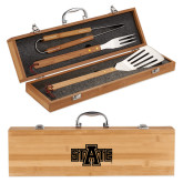 Grill Master 3pc Bamboo BBQ Set-A State Engraved