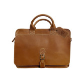 Canyon Texas Tan Briefcase-Red Wolf Head Engraved