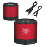 Wireless HD Bluetooth Red Round Speaker-Red Wolf Head Engraved