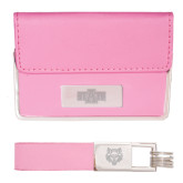 Business Card Case and Key Ring Set Pink-A State Engraved