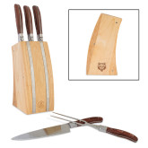 Laguiole 5 Piece Knife Block Set-Red Wolf Head Engraved