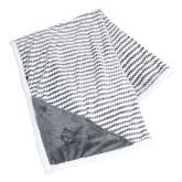 Field & Co Luxurious Grey Chevron Striped Sherpa Blanket-Red Wolf Head Engraved
