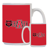 Full Color White Mug 15oz-Red Wolf Head w/A State