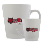 12oz Ceramic Latte Mug-Red Wolf Head w/A State